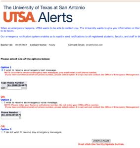 UTSA Alert